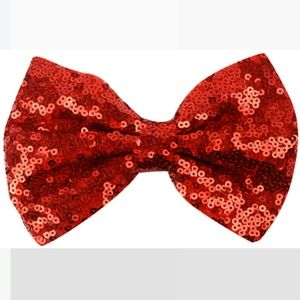 Accessories - RED SEQUIN Fabric Bows Hair Clips SET OF TWO
